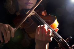 Woman violin play young beautiful Royalty Free Stock Images