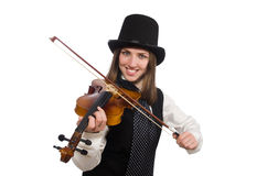 Woman violin player isolated on white Stock Photography