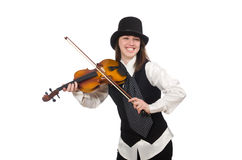 Woman violin player. The woman violin player isolated on white Royalty Free Stock Images
