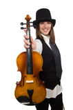 Woman violin player. The woman violin player isolated on white Stock Photo