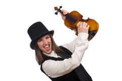 Woman violin player isolated on white Stock Photos