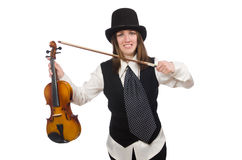 Woman violin player isolated on white Royalty Free Stock Photography