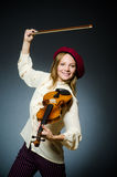 The woman violin player in musical concept. Woman violin player in musical concept Stock Photos