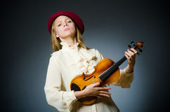 The woman violin player in musical concept. Woman violin player in musical concept Stock Image