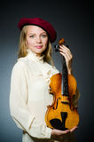 The woman violin player in musical concept Royalty Free Stock Photos