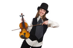 Woman violin player on white. The woman violin player isolated on white Royalty Free Stock Photos