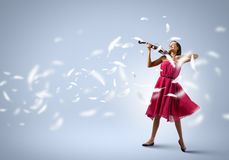 Woman with violin Royalty Free Stock Photos