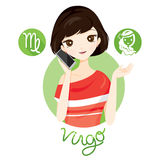 Woman With Virgo Zodiac Sign royalty free illustration