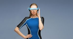 Woman in virtual reality 3d glasses Stock Photo