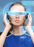Woman in virtual reality 3d glasses with screens Royalty Free Stock Photo