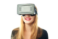 Woman in virtual reality glasses Royalty Free Stock Image