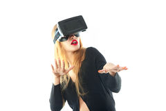 Woman in virtual reality glasses Stock Image