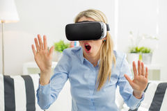 Woman with virtual reality glasses royalty free stock image