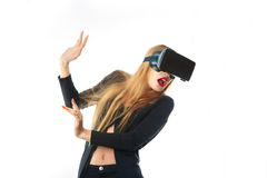 Woman in virtual reality glasses Royalty Free Stock Images