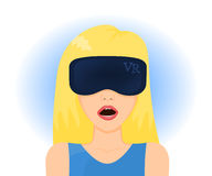 Woman in virtual reality glasses. Vector illustration Stock Image