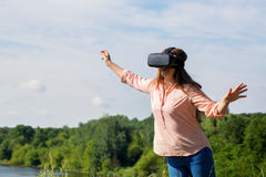 Woman in virtual reality glasses Royalty Free Stock Photography