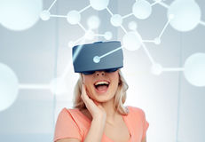Woman in virtual reality headset or 3d glasses Royalty Free Stock Photo