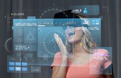 Woman in virtual reality headset or 3d glasses Stock Image