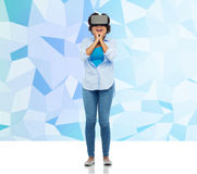 Woman in virtual reality headset or 3d glasses Royalty Free Stock Photos