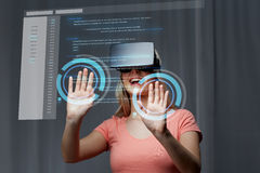 Woman in virtual reality headset or 3d glasses Royalty Free Stock Image