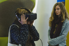 Woman with virtual reality headset at Expo 2015 in Milan, Italy Royalty Free Stock Photography