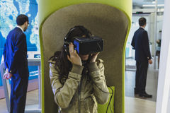 Woman with virtual reality headset at Expo 2015 in Milan, Italy Stock Photography