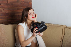 Woman with a virtual reality headset Royalty Free Stock Image