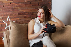 Woman with a virtual reality headset Stock Photography