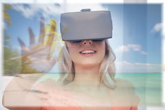 Woman with virtual reality headset over beach Royalty Free Stock Photo
