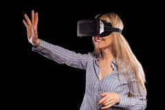 Woman in virtual reality headset Royalty Free Stock Photo