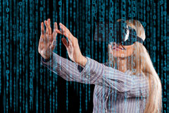 Woman in virtual reality headset Stock Image