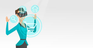 Woman in virtual reality headset shopping online. Royalty Free Stock Photos