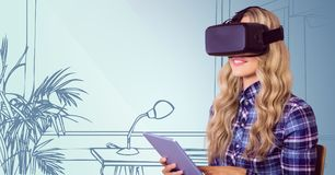 Woman in virtual reality headset with tablet against blue hand drawn office Royalty Free Stock Images