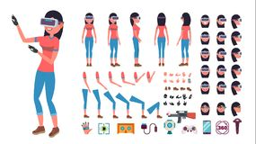 Woman In Virtual Reality Headset Vector. Animated Character Creation Set. 3D VR Glasses. Full Length, Front, Side, Back. View, Accessories, Poses, Emotions stock illustration