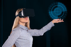 Woman in virtual reality headset Royalty Free Stock Images