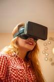 Woman in virtual reality helmet Royalty Free Stock Photos