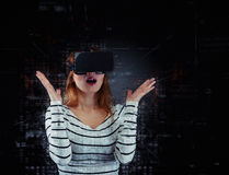 Woman in virtual reality Royalty Free Stock Photos