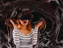 Woman in virtual reality. New vision technology stock photography
