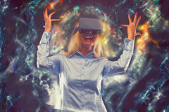 Woman in virtual reality Stock Photography