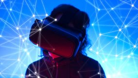 Woman and virtual reality world, tech background dots lines stock photo