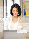 Woman with virtual screen Royalty Free Stock Images