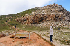 Woman visit Cape of Good Hope Scenic Walk. Royalty Free Stock Images