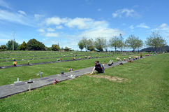 Woman visit her grandfather grave. AUCKLAND, NZL - NOV 23 2014:Woman visit her grandfather grave. Of the roughly 150,000 people who die each day across the globe Royalty Free Stock Photos