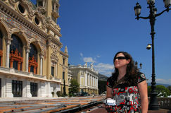 Woman visit in Monaco and Monte Carlo Kingdom Royalty Free Stock Photography