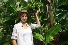 Woman visiting banana plantation Royalty Free Stock Photos