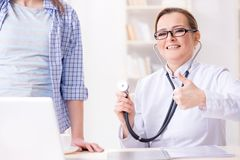 The woman visiting doctor for regular check-up. Woman visiting doctor for regular check-up Royalty Free Stock Images