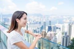 Woman visiting Hong Kong Stock Photography