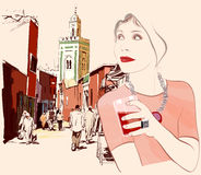 Woman visiting Marrakesh in Morocco Stock Images