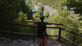 Woman visiting Plitvice Lakes National Park