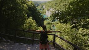 Woman visiting Plitvice Lakes National Park.  stock video